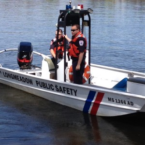 2 officers in a Longmeadow Public Safety boat