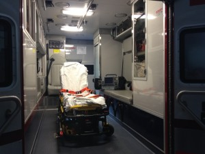 An emergency services transport bed