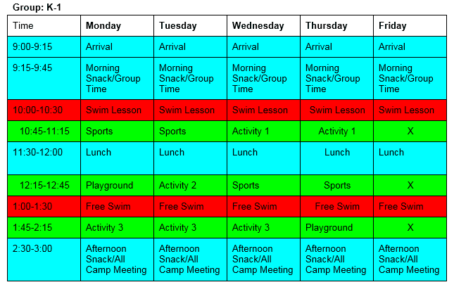 Group K-1 Daily Schedule