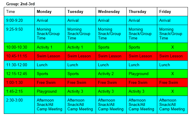 Group 2-3 Daily Schedule