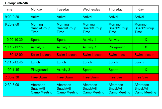 Group 4-5 Daily Schedule