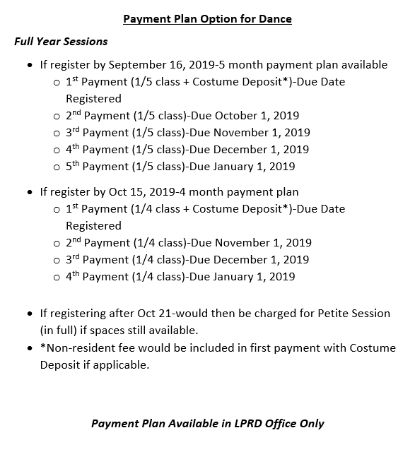 Payment Plan Option for Dance (Full Session)