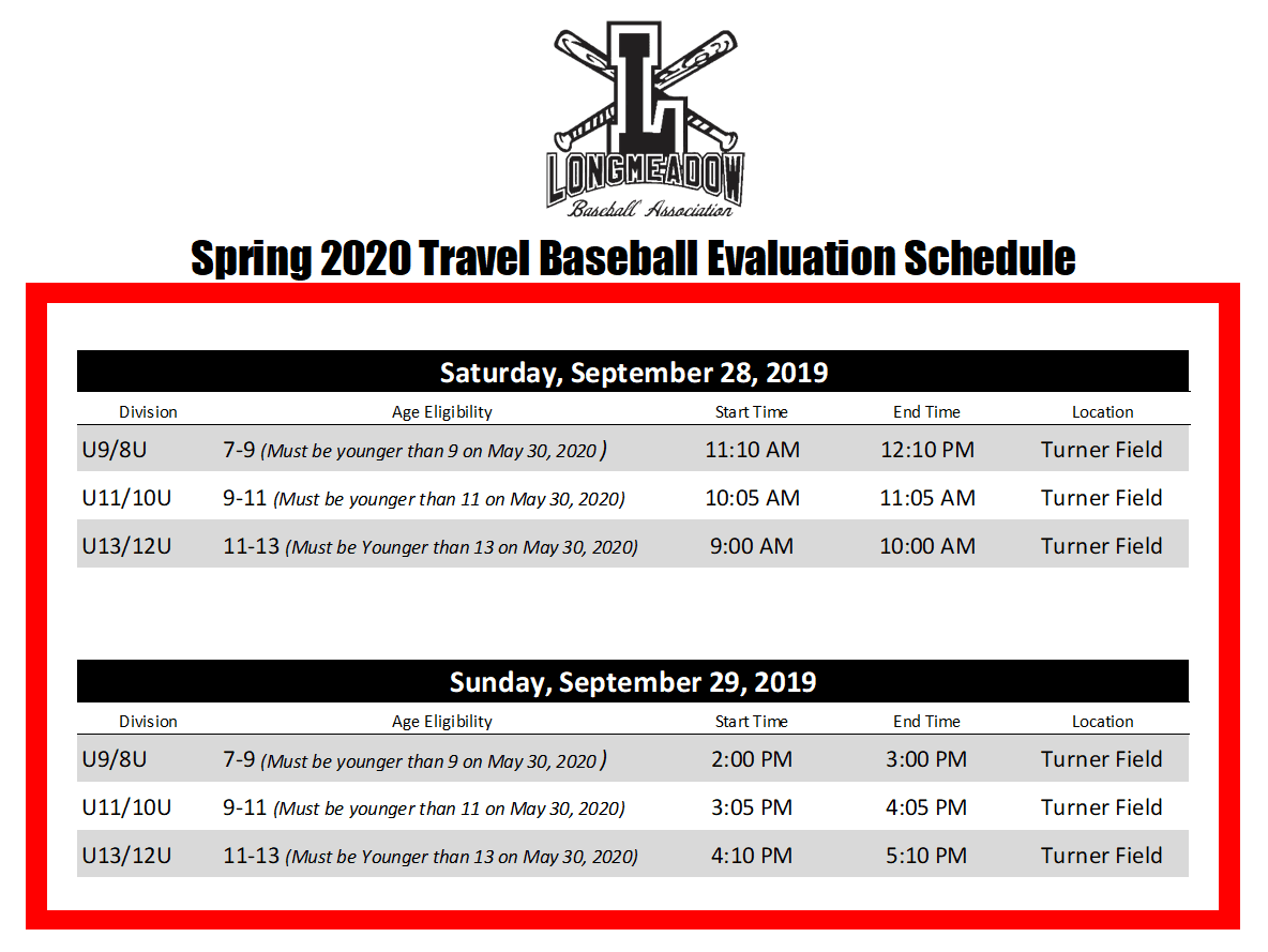 LBA Evaluation Schedule 2019