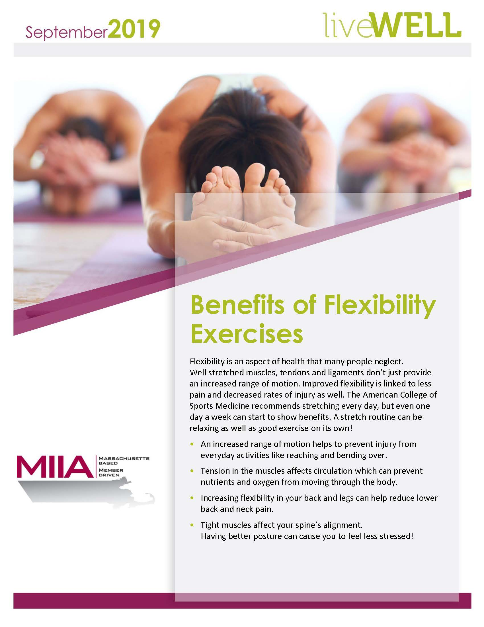 MIIA Wellness September 2019 - Benefits of Flexibility Exercises