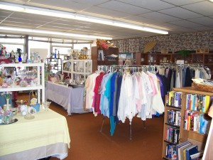 Clothes, books, and knick knacks found inside the  Maple Tree Gift Shoppe